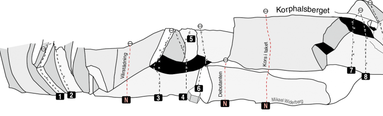 Korphalsberget - Skiss - Nyturer - Klättring i Stockholm